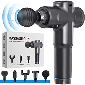 Massage Gun Deep Tissue for Athletes - Handheld Portable Electric Full Body Percussion Massager for Pain Relief, 6 Speed with 6 Massage Heads (Black)