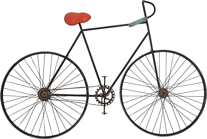 Amazon Com Deco 79 59467 Metal Bicycle Wall Décor 37 X 6 Black Red Gray Home Kitchen