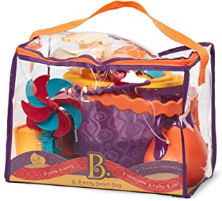 B. toys by Battat B. Ready Beach Bag Beach Tote with Mesh Panel and 11 Funky Sand Toys