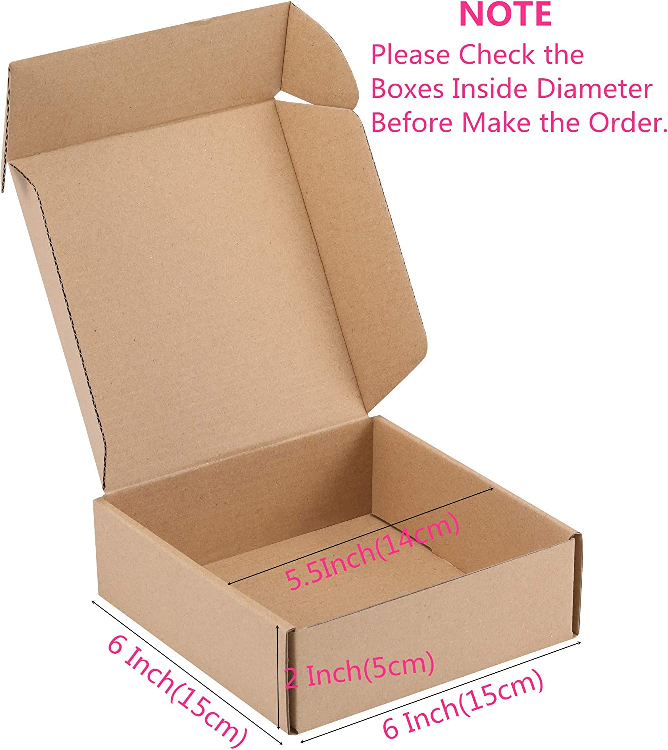 Recyclable Kraft Corrugated Cardboard Boxes Literature Mailer for Mailing Packing MUKOSEL 6X4X2.3 Inches Shipping Boxes Set of 25