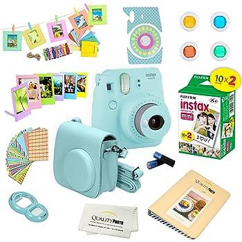 Plastic Frames Neck Strap Instant Film Camera 65-PC Accessory Set Compatible for Fujifilm Instax Mini 9 Close-Up Smokey White More Includes; Case Wrist Strap Photo Album Lens Filters