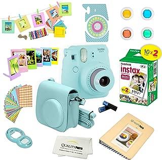 Fujifilm Instax Mini 9 Instant Camera w/Fujifilm Instax Mini 9 Instant Films (20 Pack) + A14 Pc Deluxe Bundle for Fujifilm Instax Mini 9 Camera (ice blue)