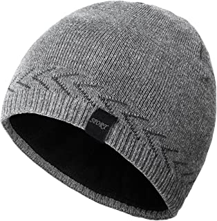 OMECHY Mens Winter Warm Knitting Hats Plain Skull Beanie Cuff Toboggan Knit Cap 4 Colors