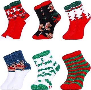 Tatuo 6 Pairs Christmas Fuzzy Socks Women Plush Slipper Socks Warm Microfiber Socks for Home Wearing Holiday Party Gifts