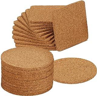 com-four® 24 Posavasos para bebidas y ollas Juego de corcho, cada 12 cuadrado y redondo (024 piezas - angular/redondo)