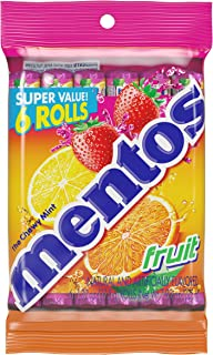 Mentos Chewy Mint Candy Roll, Fruit, Halloween Candy, Bulk, Party, Non Melting, 1.32 ounce/14 Pieces (Pack of 6)