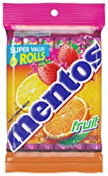 Mentos Chewy Mint Candy Roll, Fruit, Halloween Candy, Bulk, Party, Non Melting, 1.32 ounce/14 Pieces