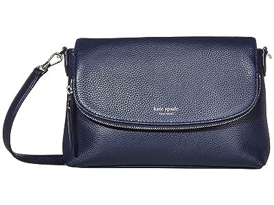 Kate Spade New York Polly Large Flap Crossbody (Blazer Blue) Handbags