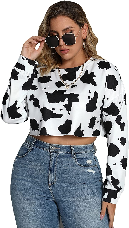 SheIn Women's Plus Cow Print Crop Sweatshirt Long Sleeve Drop Shoulder Pullover Top
