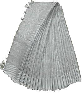 INDIA SILK PWCS LTD Women's Bhagalpuri Linen Saree With Running Blouse (TISSUE 25_Silver)