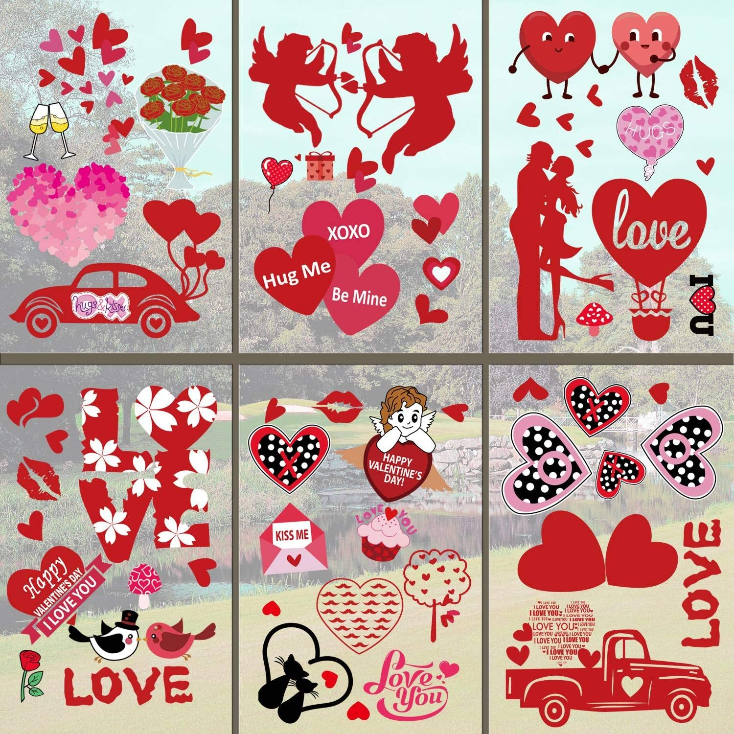 DecorMaster 8 OFFer Sheets Valentine's Day Wi Window Cling Decorations Now on sale
