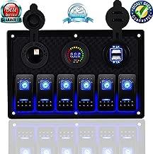 DCFlat Waterproof 3 Gang / 4 Gang / 6 Gang Circuit LED Car Marine Boat Rocker Switch Panel with Fuse Dual USB + Power Socket Breaker Voltmeter Overload Protection