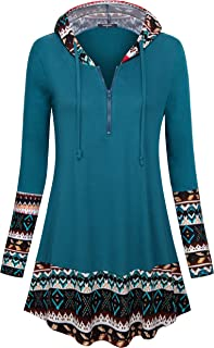 Lotusmile Casual Hoodies Women Zipper,Patchwork Pullover Drawstring Sweatshirt Long Sleeve Tunic Shirts