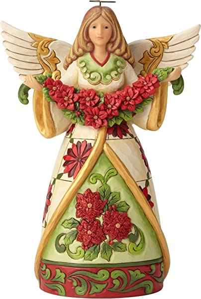 Enesco Jim Shore Heartwood Creek Angel W Poinsett Figurine