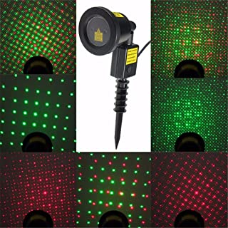 Jeteven Laser Light, Christmas Projector Lights, IP67 Waterproof Red and Green Star LED Light Outdoor for Halloween Xmas Holiday Party Landscape Patio Lawn Stage Show Decoration