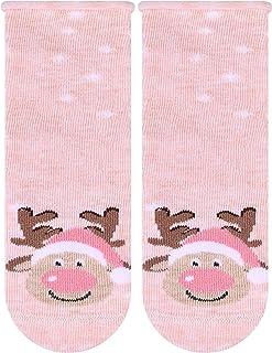 Ateena, Calcetines de Navidad divertidos con reno para recién nacido, salmón, tamaño 7,5 – 8,5 cm / EU11 – 13
