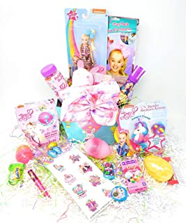 JGT Happy Easter Basket DIY Kids Girl Toddlers JoJo SIWA Theme Gift Baskets Plush Toy Stuffers Eggs Gifts Goodies Activities Artificial Grass Decorations Party Favors Bow Bag Girls