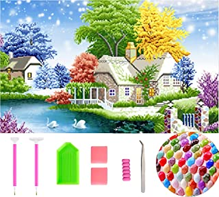 DIY 5D Diamond Painting Kits for Adults Full Drill Round Beads Snow Landscape House Scenery Diamonds Paint by Number Shiny Rhinestone Embroidery Art Craft for Home Decoration Gift