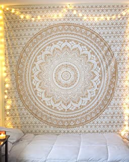 Aunercart Queen Gold Ombre Tapestry Indian Mandala Wall Art, Hippie Tapestry Wall Hangings, Bohemian Bedspread With Metallic Shine Cotton Printed Wall Hanging Dorm Decor Tapestries