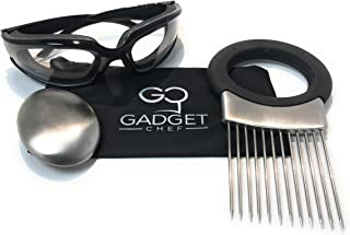 Onion Goggles Onion Holder Set – Includes Tear Free Anti Fog Onion Glasses with Free Micro Fiber Case, All in one Stainless Steel Onion Holder with Odor Remover. Must Have Kitchen Gadget Set (Black)