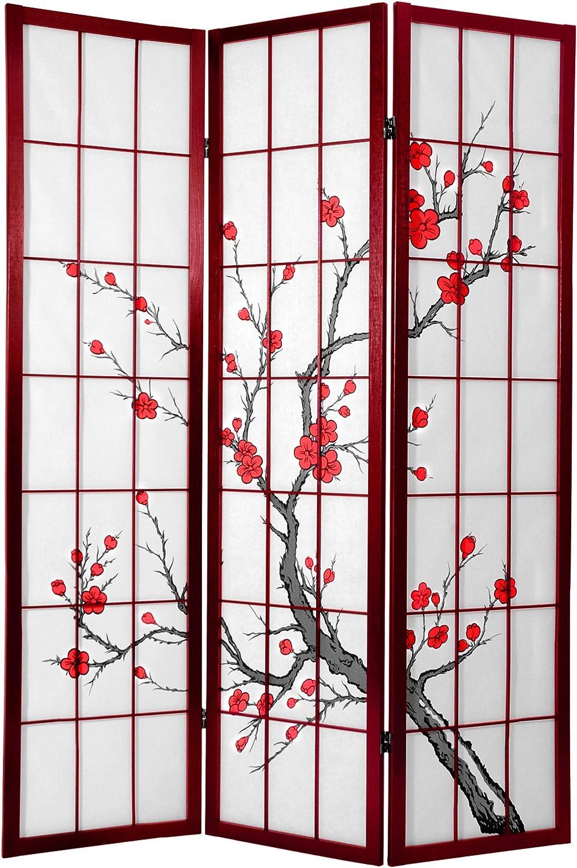 Oriental Furniture Quality Japanese Style Room Divider, 6-Feet Tall Cherry Blossom Shoji Screen, pinkwood