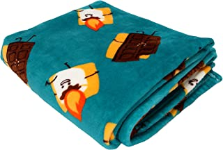 Pavilion Gift Company S'mores - 50 x 60 Inch Royal Plush Blanket with Drawstring Bag, Green