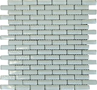 Rain Drop White Crystal Glass Mosaic Tile Brick Pattern (Glossy&Matte) for Bathroom and Kitchen Walls Kitchen Backsplashes By Vogue Tile (Free Shipping)