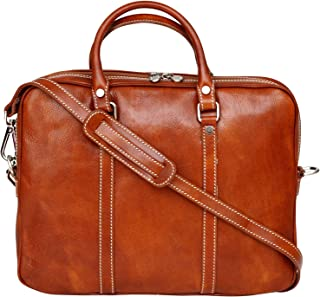 Genuine Italian Leather Slimline Work Bag Briefcase Office Laptop Ipad Bag Unisex