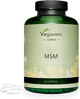 MSM 99% Puro Vegavero® | 365 Cápsulas | La Dosis Más Alta: Ahora 2000 mg | Sin Aditivos | Testado en Laboratorio | Antiinflamatorio Natural + Dolor Espalda + Articulaciones