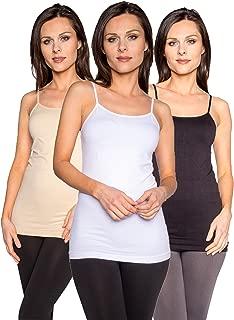 Free to Live 3 Pack Women's Premium Seamless Basic Layering Camis Tank Tops
