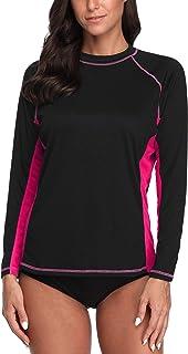 Attraco Women Long Sleeve Swim Shirts Rash Guard UV Shirts Surf Swimsuits