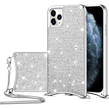 HoneyAKE for iPhone 11 Pro Max Case Glitter Bling Diamond Rhinestone Durable Hybrid TPU Bumper Hard Anti-Slip Back Cover with Crossbody Chain Strap Protective Cover for iPhone 11 Pro Max Silver