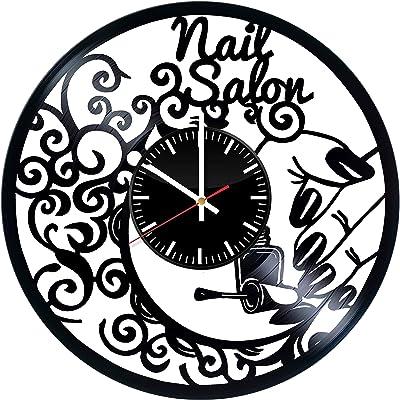 Nail Salon Art Handmade Vinyl Record Wall Clock - Get Unique Bedroom or livingroom Wall Decor