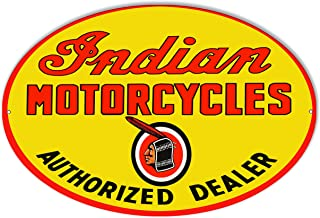 Garage Art Signs Indian Motorcycle Authorized Dealer Metal Sign 23.5x15