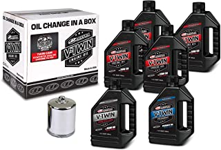 Maxima Racing Oils 90-119016C Chrome Maxima 90-119016C Twin Cam Synthetic 20W-50 Chrome Filter Complete Oil Change Kit, 6 ...