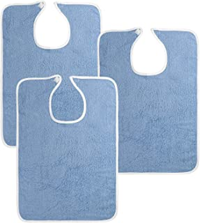 Utopia Towels 3 Pack Premium Quality Adult Bibs (Terry Cloth), Blue, 100% Soft Cotton Reusable and Washable Bibs
