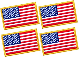 4 PCS Tactical Patches of USA US American Flag, with Hook and Loop for Backpacks Caps Hats Jackets Pants, Military Army Uniform Emblems, Size 3x2 Inches