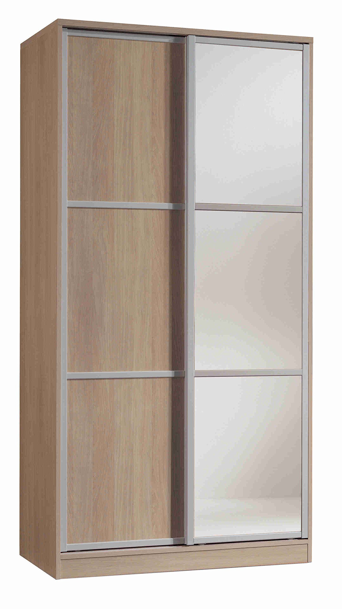 Armario ropero con Espejos Color Cambrian de 2 Puertas correderas, estantes Regulables, molduras Decorativas para Dormitorio. 200cm Alto x 100cm Ancho x 55cm Fondo: Amazon.es: Hogar