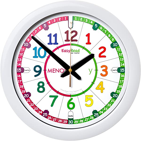 EasyRead Time Teacher ERTT ES Children S Wall Clock Rainbow Face Spanish Version