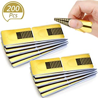 Blulu 200 Pieces Form Guide Stickers Nail Extension Tips Self-Adhesive Art Nail Tips French DIY Tool UV Gel Tools for Women Girls Nail DIY Supplies Nail Salon at Home (Square-Shaped)