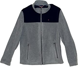 TOMMY HILFIGER Mens Full-Zip Sweater (XL, Gray/Navy)