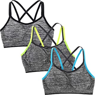 Sports Bra for Women Yoga Bra Strappy Light Support Bright Straps Removable Padded Seamless Workout Fitness