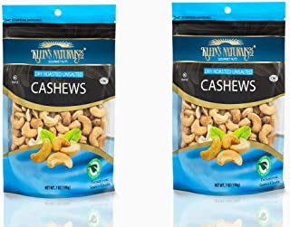 Cashews Unsalted, 7 Ounce by Klein's Naturals. Locally Grown Unsalted Cashew, Kosher Nuts Snack Packs for Snacking or On T...
