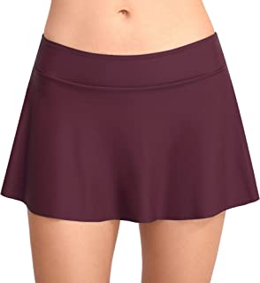 Joyaria Women's Flounce Swim Skirt Tankini Bottoms Athletic Skort with Built in Briefs