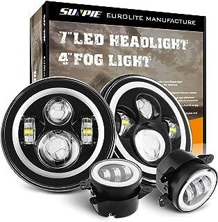 7 Inch LED Halo Headlights with Turn Signal Amber DRL White+ 4 '' Halo Fog Lights for Jeep Wrangler 1997-2017 JK JKU TJ LJ Rubicon Sahara Unlimited White DRL/Amber