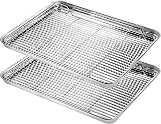 Baking Sheet with Cooling Rack Set (2 Pans + 2 Racks), Yododo Stainless Steel Baking Pan Cookie Sheet Cookie Pan with Rack, Size 16 x 12 x 1 Inch, Mirror Finish & Non Toxic & Heavy Duty & Easy Clean