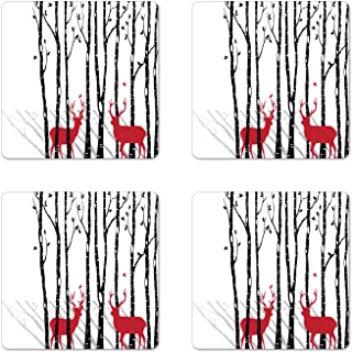 Ambesonne Antlers Coaster Set of 4, Deer Tree Forest with Red Holiday Theme Flying Leaves Branch Reindeer, Square Hardboard Gloss Coasters for Drinks, Standard Size, White Red