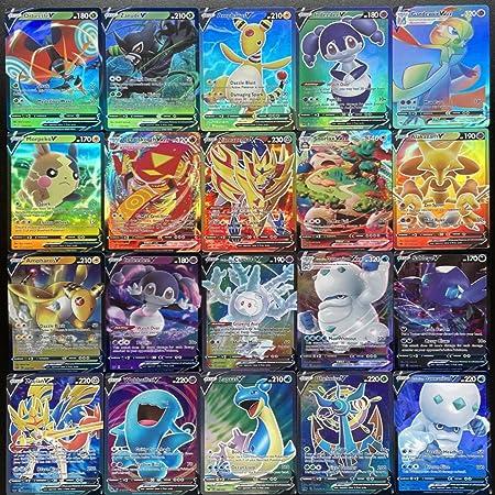 Pokemon Card Game Sword & Shield, AUMIDY 100pcs Carte Pokemon avec Cartes Pokémon 60 V et 40 VMAX pour Enfants, GX Flash Trading Puzzle Jeu de Cartes Amusan