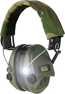 Sordin Supreme PRO X - Noise Reduction Adjustable Ear Muffs with LED Light and Gel Seals - Camo Headband and Green Cups