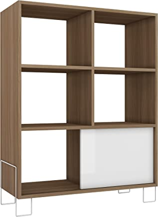 BRV Moveis Book Shelf With Five Shelves And One Cabinet, Brown & White - H 98 cm x W 80.5 cm x D 33 cm
